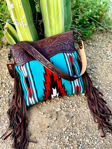 Red and Turquoise Saddle Blanket Purse