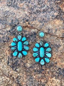 Natural Stone Cluster Post Earrings - Turquoise