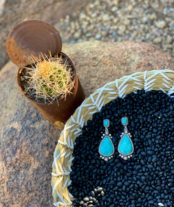 Studded Teardrop Natural Stone Post Earrings
