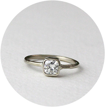 Cushion Cut Moissanite Ring in 14k White Gold