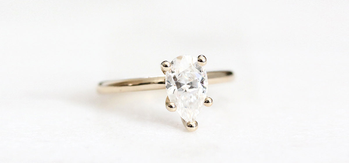 Eco Friendly 14k White Sapphire Ring