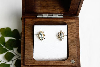 aura aquamarine halo studs Earrings Andrea Bonelli