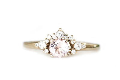 scarlett morganite diamond ring Gemstone Rings Andrea Bonelli 14k Yellow Gold