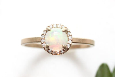 14k opal and diamond halo ring | Andrea Bonelli Jewelry
