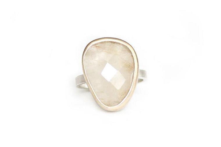 14k / silver rutilated quartz ring - Andrea Bonelli Jewelry