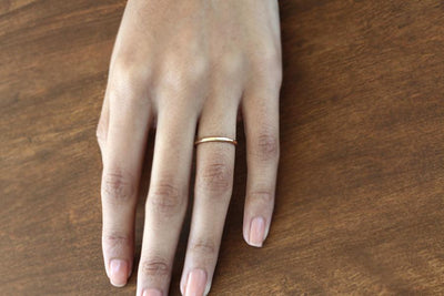 14k hammer facet ring | Andrea Bonelli Jewelry