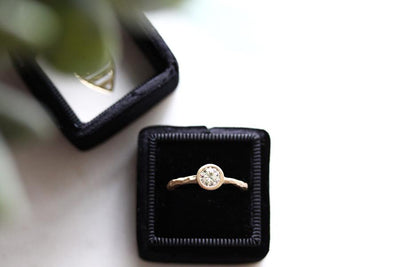 14k rustic carved moissanite ring | Andrea Bonelli Jewelry