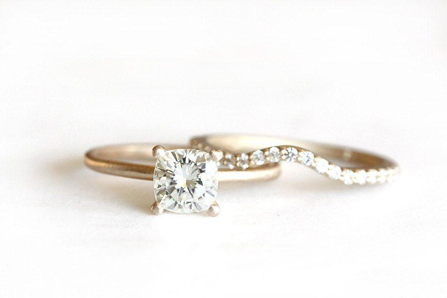 Final Balance 14k cushion moissanite engagement ring - Andrea Bonelli Jewelry