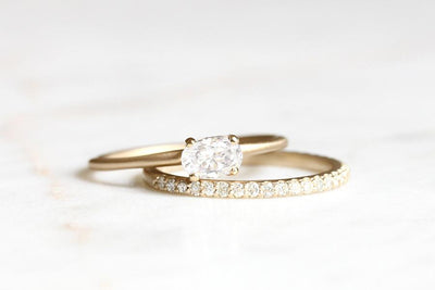 14k moissanite pavé band | Andrea Bonelli Jewelry