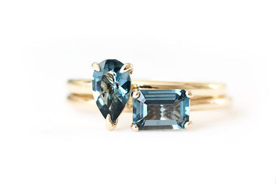 14k pear london blue topaz tristan ring | Andrea Bonelli Jewelry