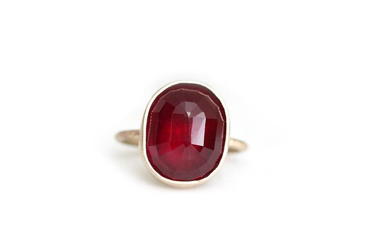 14k faceted rose cut garnet ring - Andrea Bonelli Jewelry