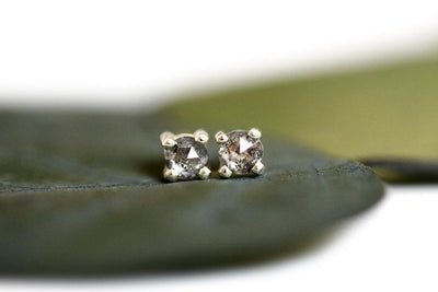 salt + pepper rose cut diamond studs Earrings Andrea Bonelli