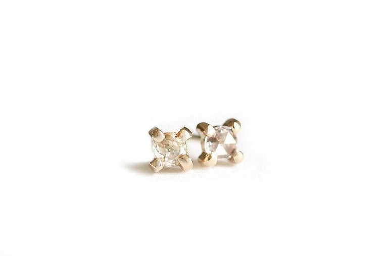 14k white rose cut diamond studs - Andrea Bonelli Jewelry