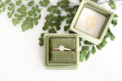 14k GIA carved diamond engagement ring | Andrea Bonelli Jewelry