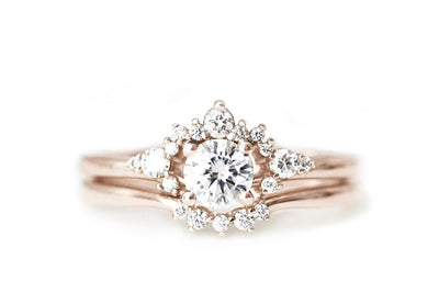 scarlett halo ring Moissanite Rings Andrea Bonelli 14k Rose Gold Moissanites