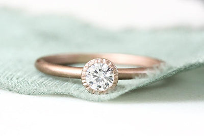 14k moissanite plissé ring .25ct | Andrea Bonelli Jewelry