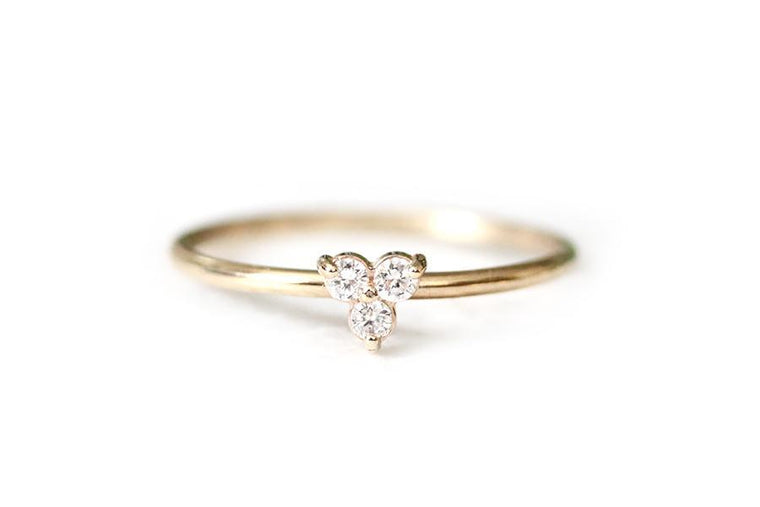 14k trinity diamond ring - Andrea Bonelli Jewelry