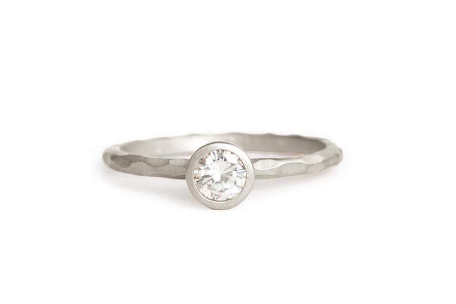 14k carved moissanite engagement ring - Andrea Bonelli Jewelry
