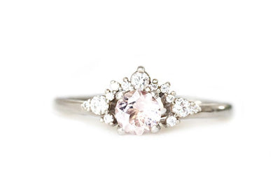 scarlett morganite diamond ring Gemstone Rings Andrea Bonelli 14k White Gold