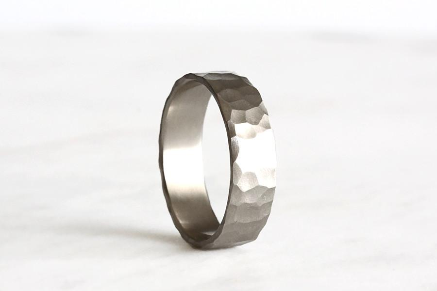 14k rustic carved band 6mm - Andrea Bonelli Jewelry