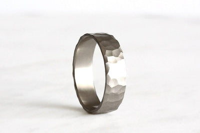 silver rustic carved band 6mm | Andrea Bonelli Jewelry