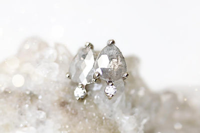 pale gray diamond droplet earrings Earrings Andrea Bonelli