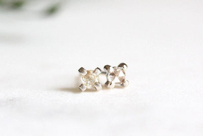 white rose cut diamond studs Sold Andrea Bonelli 14k White Gold