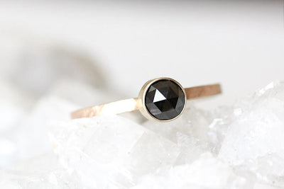 14k black rose cut diamond ring | Andrea Bonelli Jewelry
