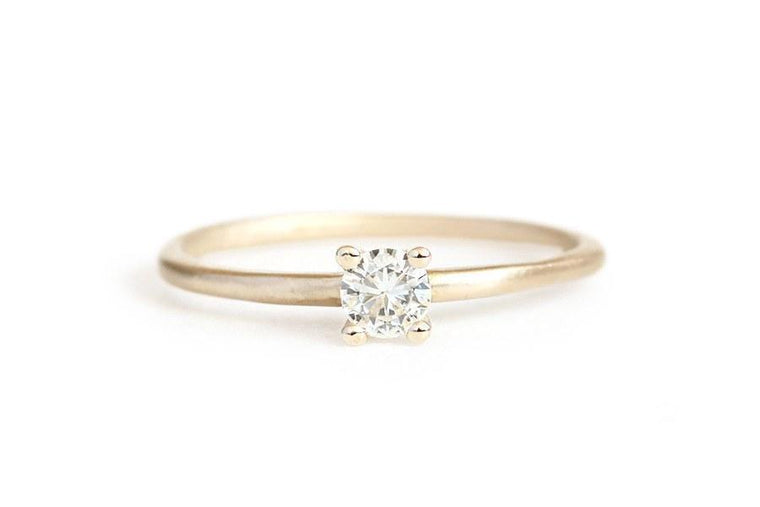 14k solitaire moissanite ring - Andrea Bonelli Jewelry