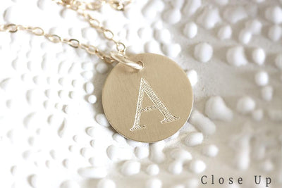 14k initial charm necklace | Andrea Bonelli Jewelry