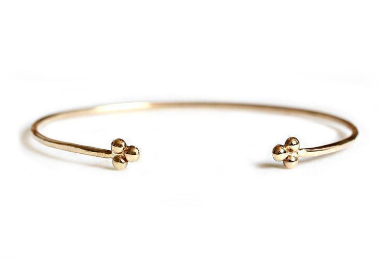 14k gold beaded cuff bracelet - Andrea Bonelli Jewelry