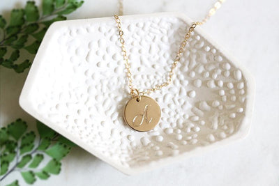 cursive initial charm necklace Necklaces Andrea Bonelli Jewelry