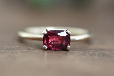 14k emerald cut garnet ring Andrea Bonelli Jewelry