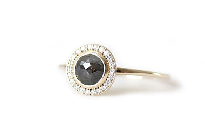 rose cut gray diamond halo ring Sold Andrea Bonelli