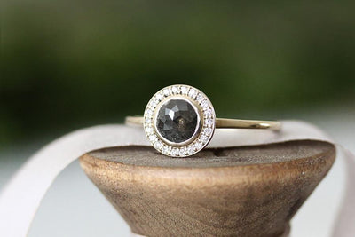 14k rose cut gray diamond halo ring | Andrea Bonelli Jewelry