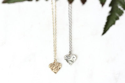 14k hammered heart necklace Andrea Bonelli