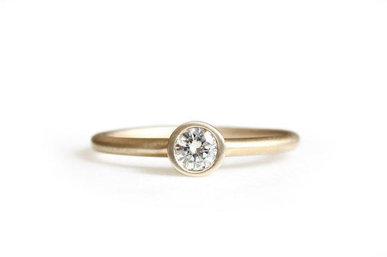 14k moissanite engagement ring - Andrea Bonelli Jewelry