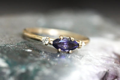14k marquise iolite and diamond  ring | Andrea Bonelli Jewelry