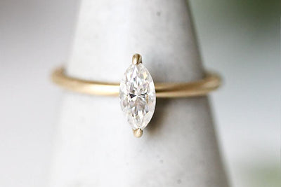 14k cleo marquise moissanite ring Andrea Bonelli Jewelry