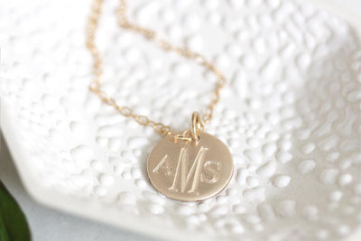14k monogram charm necklace Andrea Bonelli Jewelry