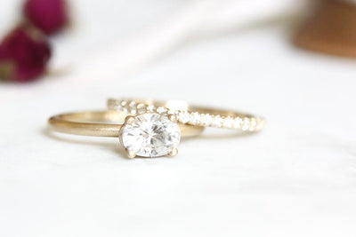 14k oval moissanite ring | Andrea Bonelli Jewelry