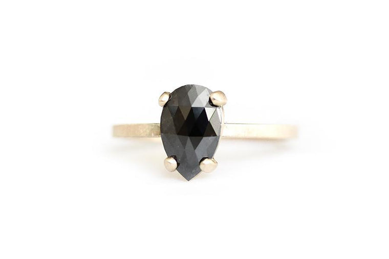 14k pear black rose cut diamond ring - Andrea Bonelli Jewelry