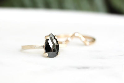pear black rose cut diamond ring Sold Andrea Bonelli