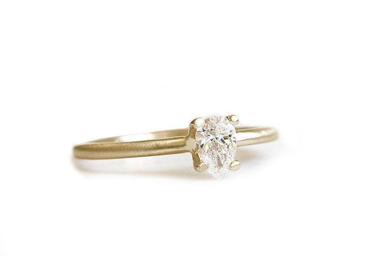 14k GIA pear diamond engagement ring - Andrea Bonelli Jewelry