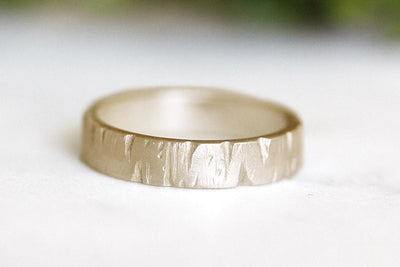 14k rustic carved bark band | Andrea Bonelli Jewelry
