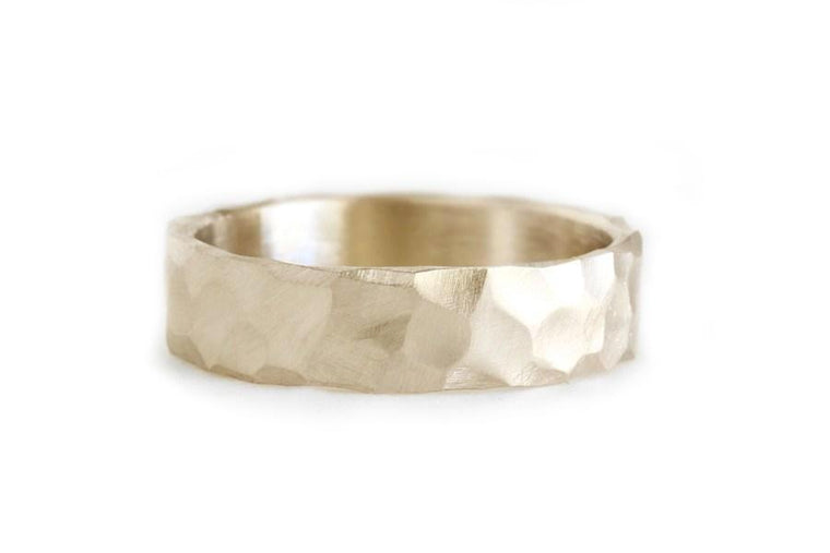 14k rustic carved band 5mm - Andrea Bonelli Jewelry