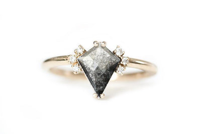 14k salt and pepper kite diamond ring | Andrea Bonelli Jewelry