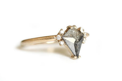 14k salt and pepper kite diamond ring Andrea Bonelli Jewelry