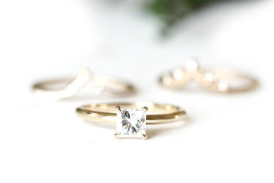 14k square moissanite ella ring | Andrea Bonelli Jewelry