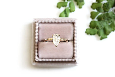 14k pear moissanite engagement ring - Andrea Bonelli Jewelry